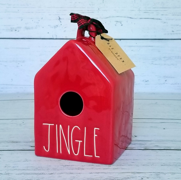 Rae Dunn Jingle Birdhouse Red Christmas Birdhouse
